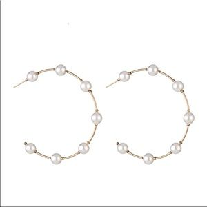 Jewelry - Round Hoops with Simulated Pearl Earrings